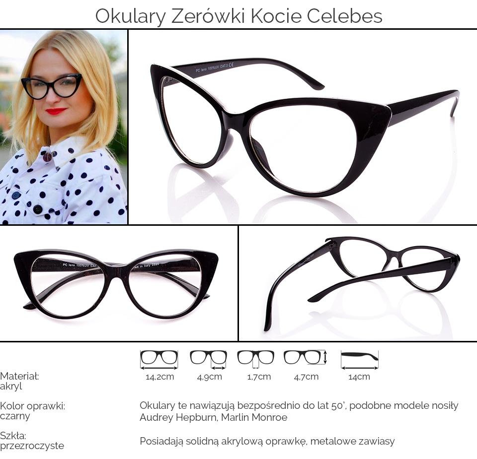 e71a3f3b4c6af8 Okulary Zerówki Kocie Oczy Cat Eyes Czarne 0027
